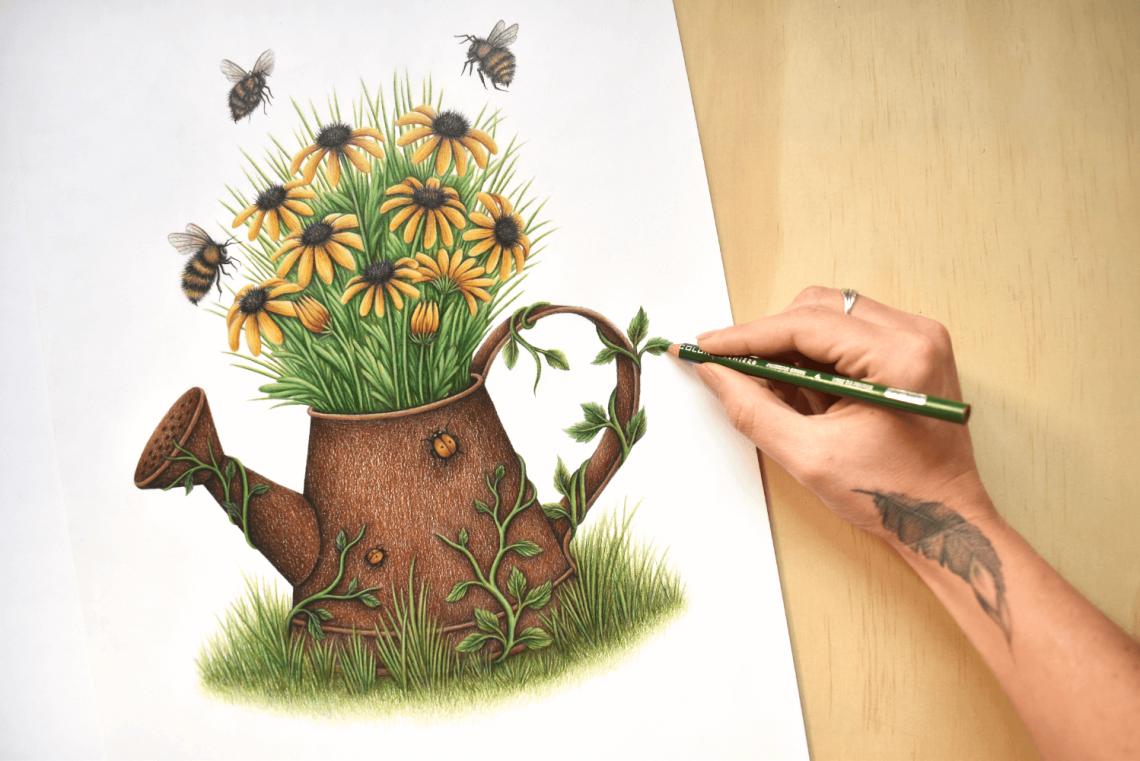 Stacey Maree watering can drawing